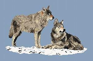 Couple de loups diagramme noir et blanc