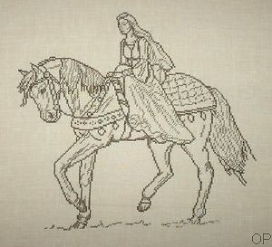 Dame médiévale monochrome diagramme noir et blanc