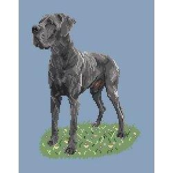 Dogue allemand bleu diagramme noir et blanc