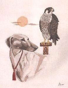 Faucon et lévrier des sables diagramme noir et blanc