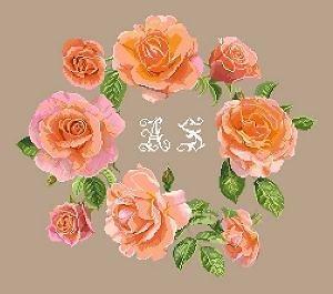 Roses corail aux initiales diagramme noir et blanc