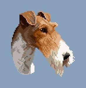 Tête de fox-terrier à poil dur diagramme noir et blanc