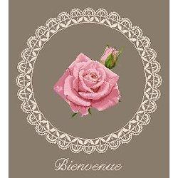 """""""Bienvenue"""" à la rose diagramme noir et blanc"""