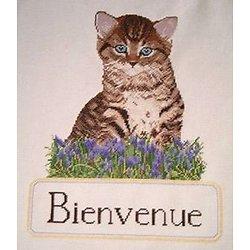 """""""Bienvenue"""" au chaton diagramme noir et blanc"""