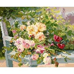 """""""Roses sur le banc"""" de Cauchois diagramme couleur"""
