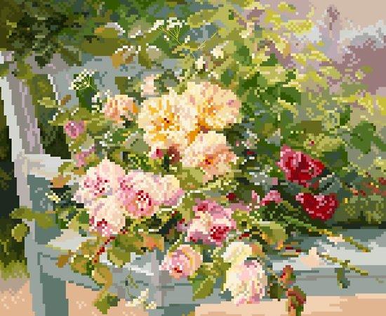 """""""Roses sur le banc"""" de Cauchois diagramme noir et blanc"""