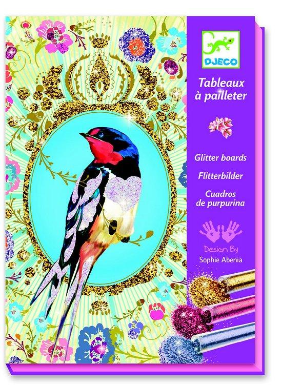 Tableaux à pailleter Oiseaux à paillettes Djeco 7-13 ans