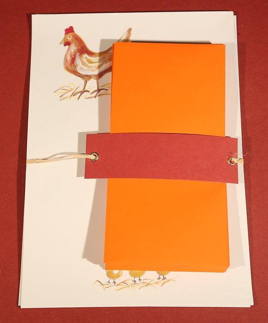 Papier à Lettres Poule avec enveloppes en papier recyclé