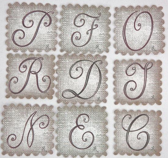 Carré de lin Alphabet lettre au choix 5x5cm