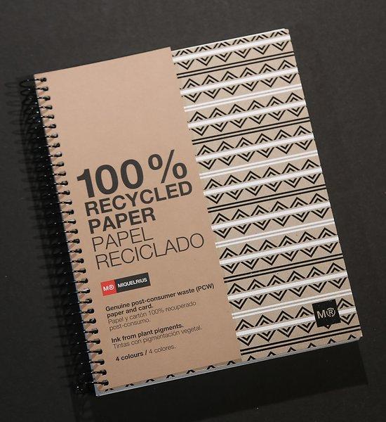 Carnet recyclé ligné  écowhite&black A4 et A5  spirale avec feuilles détachables
