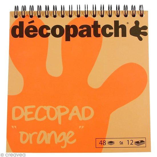 Décopad orange 48 feuilles imprimées 15x15cm