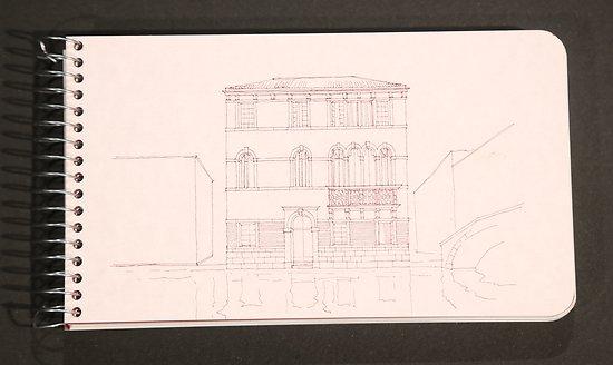 Carnet à dessin spirale 10.5x18cm bords arrondis Palazzetto a Cannaregio