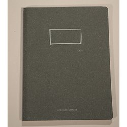 Carnet encollé 19x25cm, couverture en cuir recyclé noire