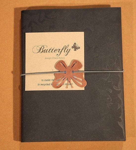 Carnet Papillon couverture cuir recyclé A5