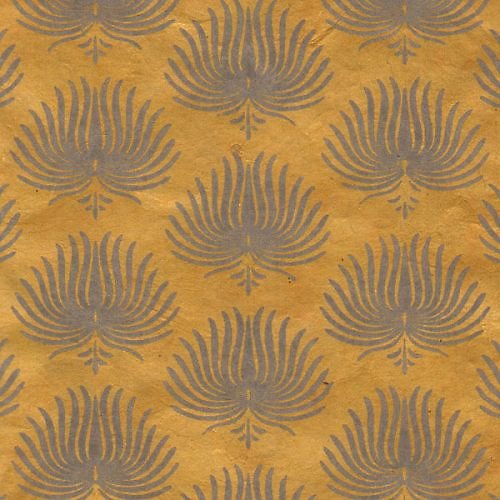 Papier LOKTA  palme moutarde 50x75cm ou 50x37.5cm