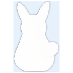 Symbole lapin en papier mâché  blanc 1.5X8X12CM
