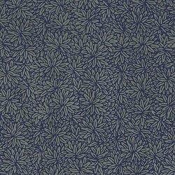Papier LOKTA petites fleurs bronzes sur fond bleu
