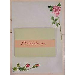 Papier à lettre Roses avec enveloppes en papier recyclé