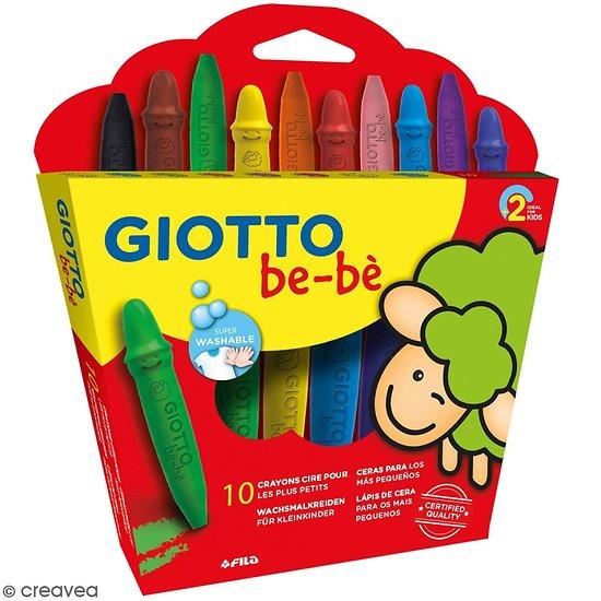 10 Crayons cire incassables pour les plus petits avec taille crayon