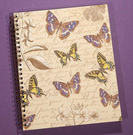 Carnet  18x22 cm à spirale Papillon