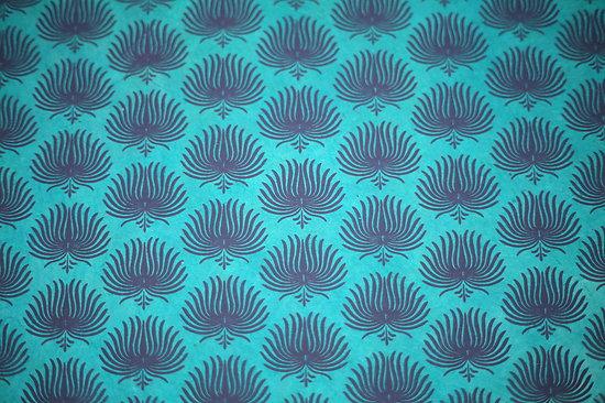 Papier LOKTA  palme turquoise bleu