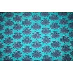 Papier LOKTA  palme turquoise bleu 50x75cm ou 50x37.5cm