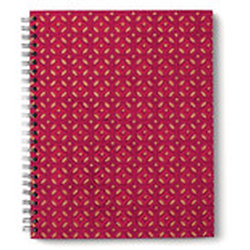 Carnet spirale bordeau-rouge-or