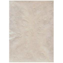 Papier LOKTA coeur embossé ivoire et beige