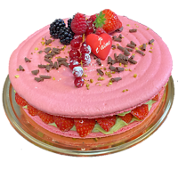 Macaronade fraises (délai de commande 72 heures)