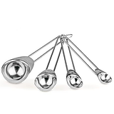 Ensemble de 4 cuillères à mesurer en acier inoxydable