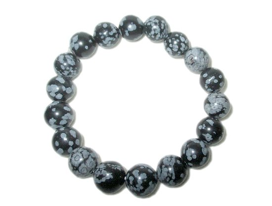 Bracelet Obsidienne neige élastique