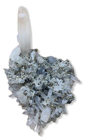 Cristal de roche Brute sur Pyrite et Galene