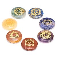 7 Pierres plates avec les symboles chakras