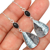 Boucles d'oreilles Opale dendrite 925/000