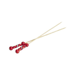 Brochettes à bonbons Perles rouges 120mm - lot de 10