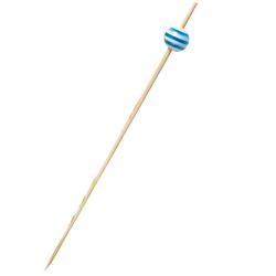 Brochettes à bonbons toupie bleu et blanc 120mm - lot de 10