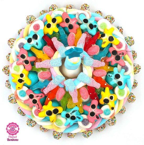 Maxi gâteau de bonbons Anniversaire Garçon avec bougie étoile  320mm