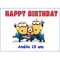 Plaque Azyme Minions Happy birthday
