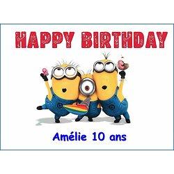 Plaque Azyme Minions Happy birthday