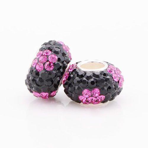 Perle Pavé Noir et Violet S925