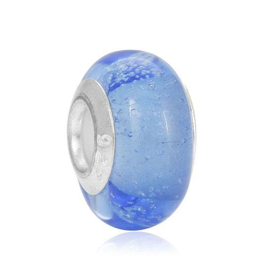 Perle en verre Bleu nuit à bulles