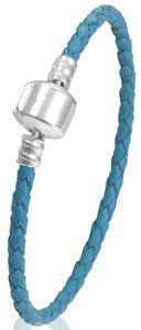 Bracelet en cuir bleu 17 cm