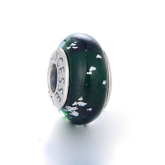 Charm Murano Vert à paillettes S925