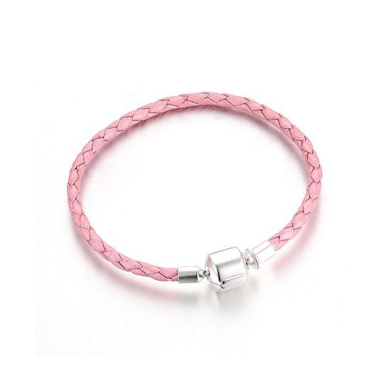 Bracelet Tressé en Cuir Rose 19 cm
