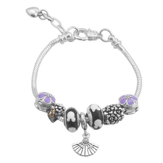 Bracelet Charm violet (taille réglable 19 à 23cm)