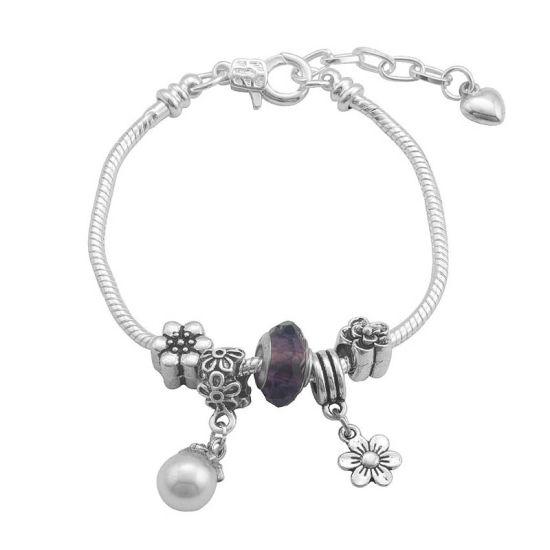 Bracelet Charm fleuri (taille réglable 19 à 23cm)
