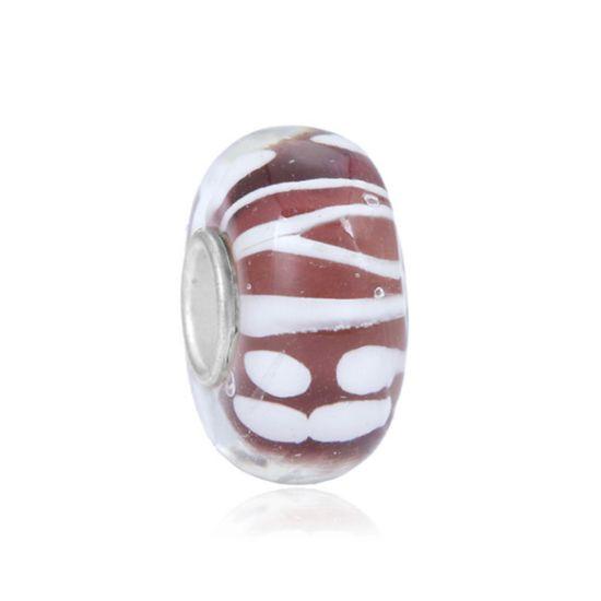 Perle en verre violet et blanc