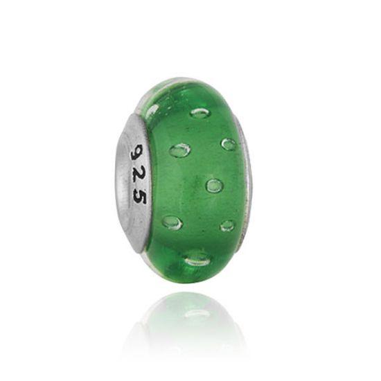 Perle en verre Vert à bulles