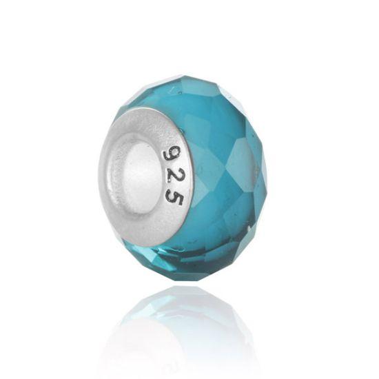 Perle en verre Bleu facetté