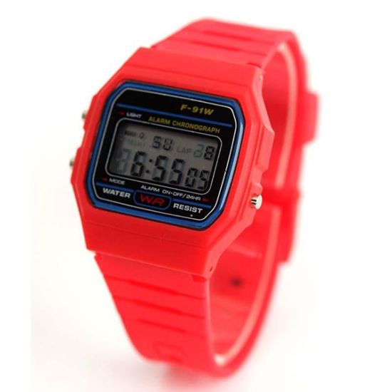 Montre Digital Silicone vintage Rouge style Casio